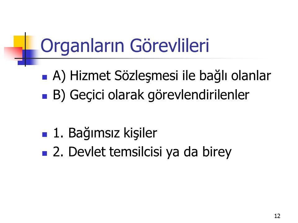 12 Organların Görevlileri A) Hizmet Sözleşmesi ile bağlı olanlar B) Geçici olarak görevlendirilenler 1. Bağımsız kişiler 2. Devlet temsilcisi ya da bi