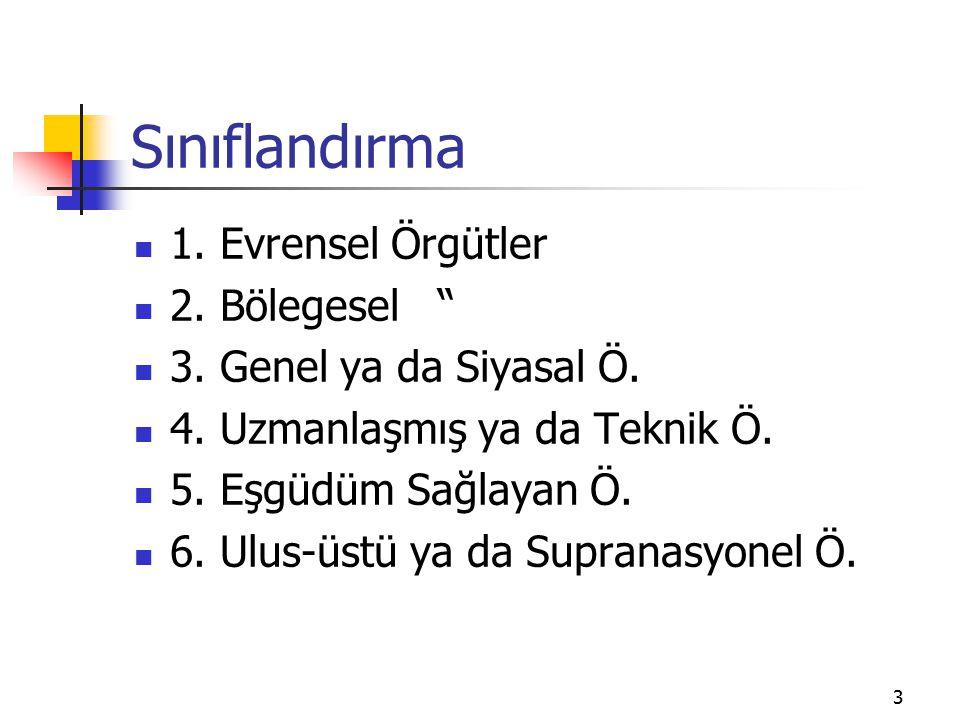 3 Sınıflandırma 1. Evrensel Örgütler 2. Bölegesel 3.