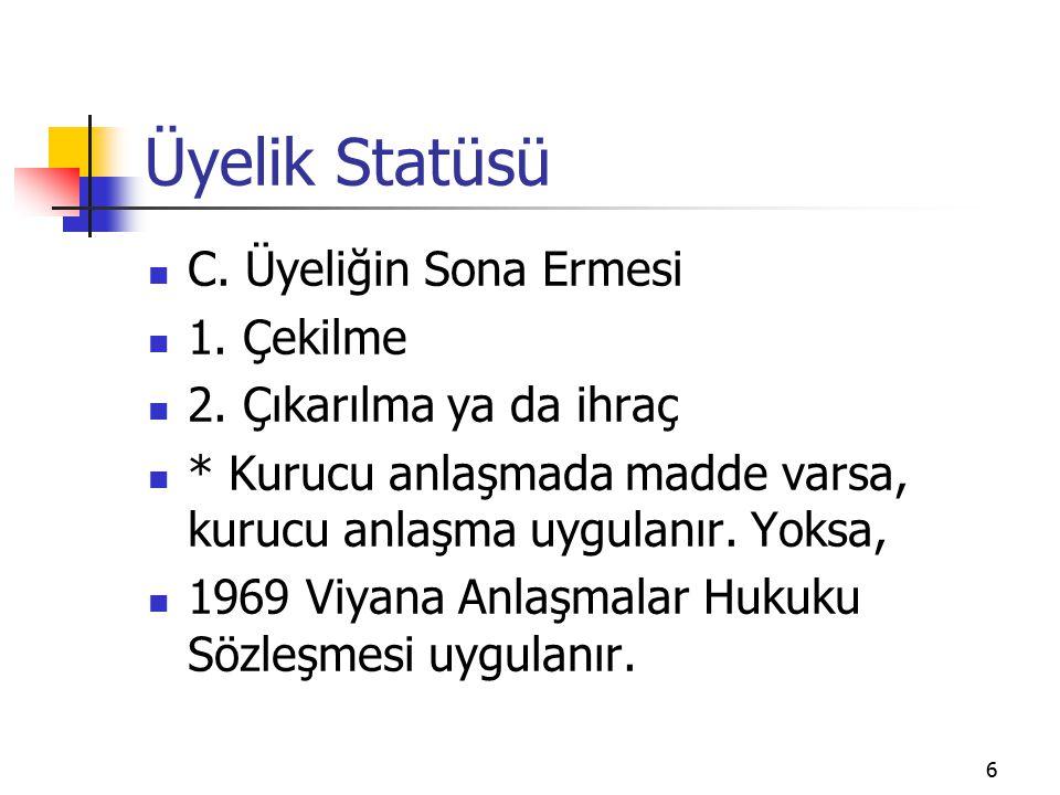 6 Üyelik Statüsü C. Üyeliğin Sona Ermesi 1. Çekilme 2.