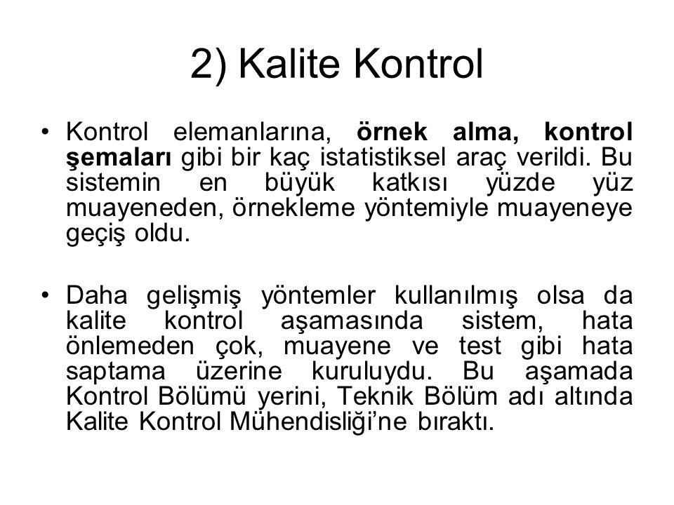 2) Kalite Kontrol Kontrol elemanlarına, örnek alma, kontrol şemaları gibi bir kaç istatistiksel araç verildi. Bu sistemin en büyük katkısı yüzde yüz m