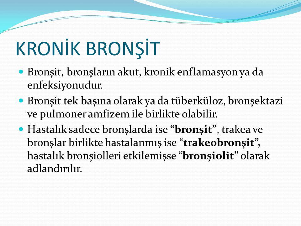 Bronşit, bronşların akut, kronik enflamasyon ya da enfeksiyonudur. Bronşit tek başına olarak ya da tüberküloz, bronşektazi ve pulmoner amfizem ile bir