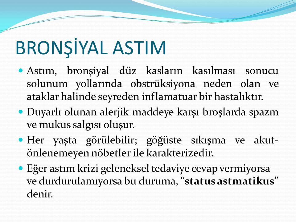 Astım, bronşiyal düz kasların kasılması sonucu solunum yollarında obstrüksiyona neden olan ve ataklar halinde seyreden inflamatuar bir hastalıktır. Du