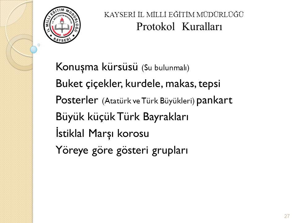 Okul Açılış Törenleri Konuşma kürsüsü (Su bulunmalı) Buket çiçekler, kurdele, makas, tepsi Posterler (Atatürk ve Türk Büyükleri) pankart Büyük küçük Türk Bayrakları İ stiklal Marşı korosu Yöreye göre gösteri grupları 27 KAYSERİ İL MİLLİ EĞİTİM MÜDÜRLÜĞÜ Protokol Kuralları