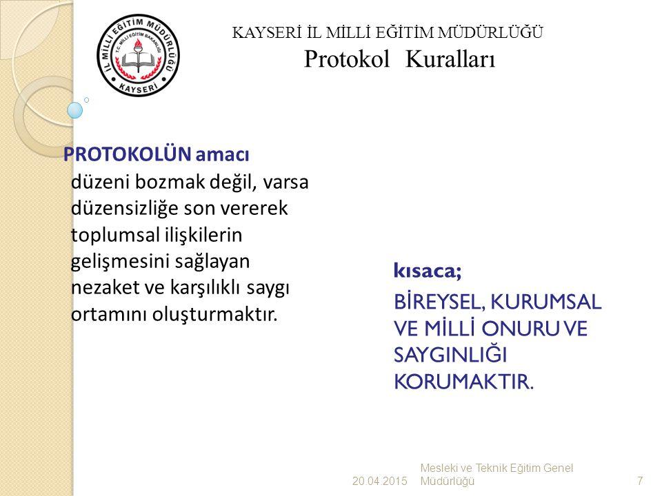 Makam Protokolü Kamusal yaşamda anlayış olarak, makamın özel bir önemi, etkinli ğ i, üstünlü ğ ü ve ayrıcalı ğ ı vardır.