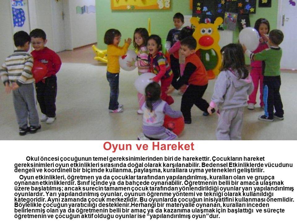 Oyun ve Hareket Okul öncesi çocuğunun temel gereksinimlerinden biri de harekettir. Çocukların hareket gereksinimleri oyun etkinlikleri sırasında doğal