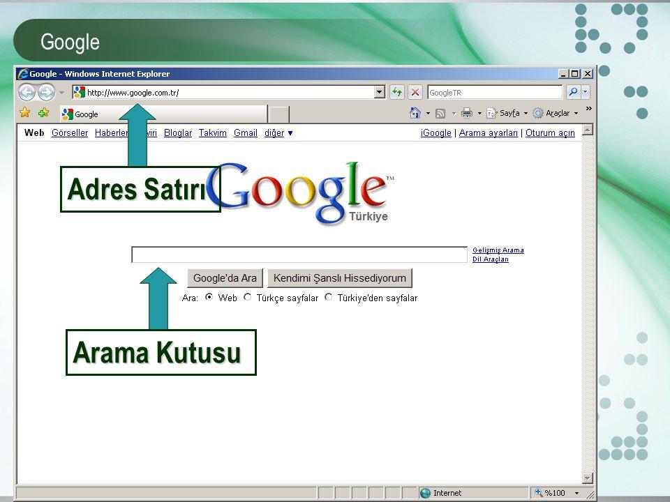 Google Arama Kutusu Adres Satırı