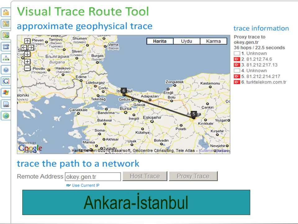 Google Ankara-İstanbul