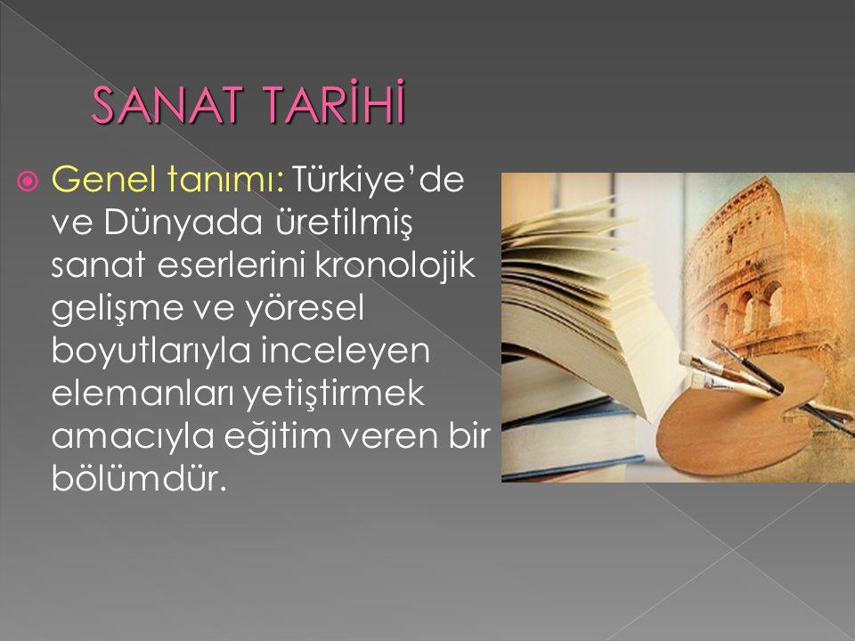  Genel tanımı: Türkiye'de ve Dünyada üretilmiş sanat eserlerini kronolojik gelişme ve yöresel boyutlarıyla inceleyen elemanları yetiştirmek amacıyla eğitim veren bir bölümdür.