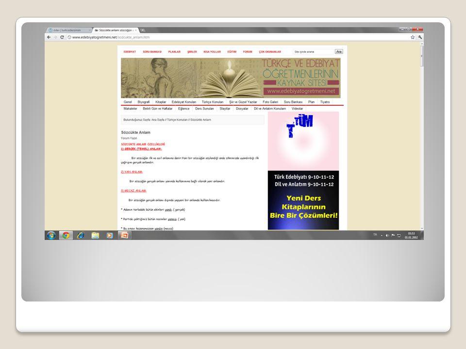 Edebiyat Fakültesi Sitenin adresi; http://www.edebiyatfakultesi.com/deyiml er_a.htm http://www.edebiyatfakultesi.com/deyiml er_a.htm Bu site oldukça geniş kapsamlı ve güvenilir bilgilerden oluşuyor, Konular açık ve net olarak kullanılmış Görsel olarak(sitenin teması,içeriği,yazıları,rengi,) oldukça dikkat çekici ve uyumlu olarak hazırlanmış…