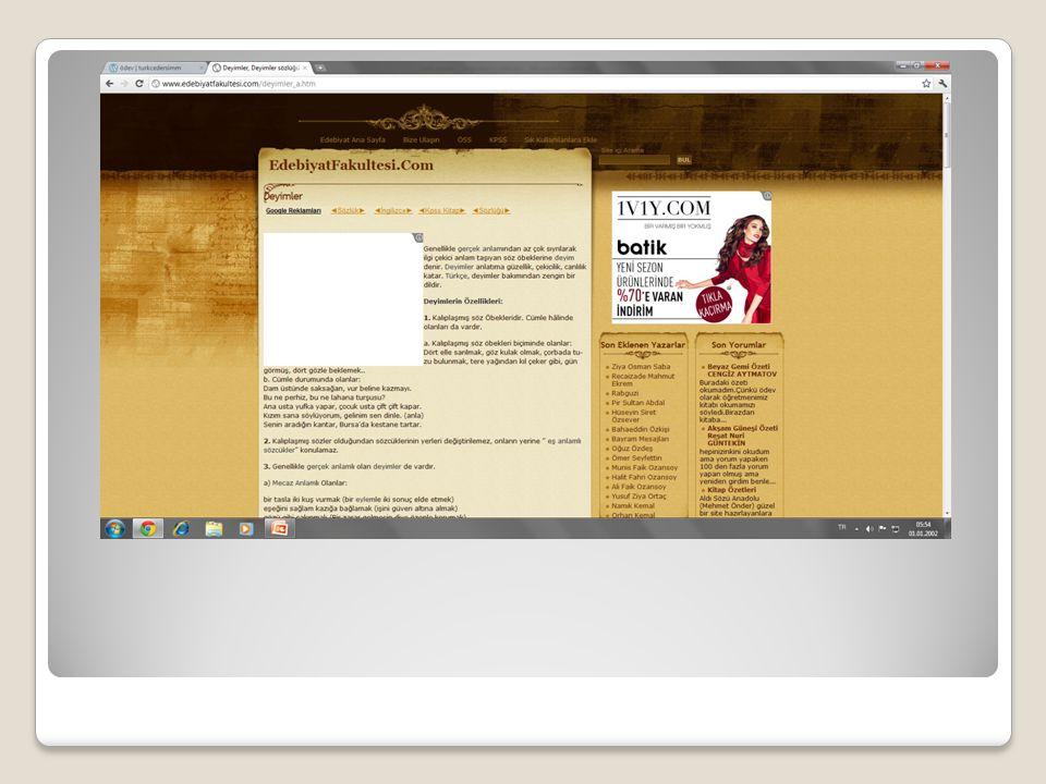 Dersistan Sitenin adresi; http://www.dersistan.com/index.php?option =com_content&view=category&layout=blog& id=10&Itemid=18 http://www.dersistan.com/index.php?option =com_content&view=category&layout=blog& id=10&Itemid=18 Bu site oldukça geniş kapsamlı ve güvenilir bilgilerden oluşuyor, Öğrenilen bilgilerin test edilebilmesi için çeşitli uygulamalar eklenmiş, Görsel olarak(sitenin teması,içeriği,yazıları,rengi,) oldukça dikkat çekici ve uyumlu olarak hazırlanmış…