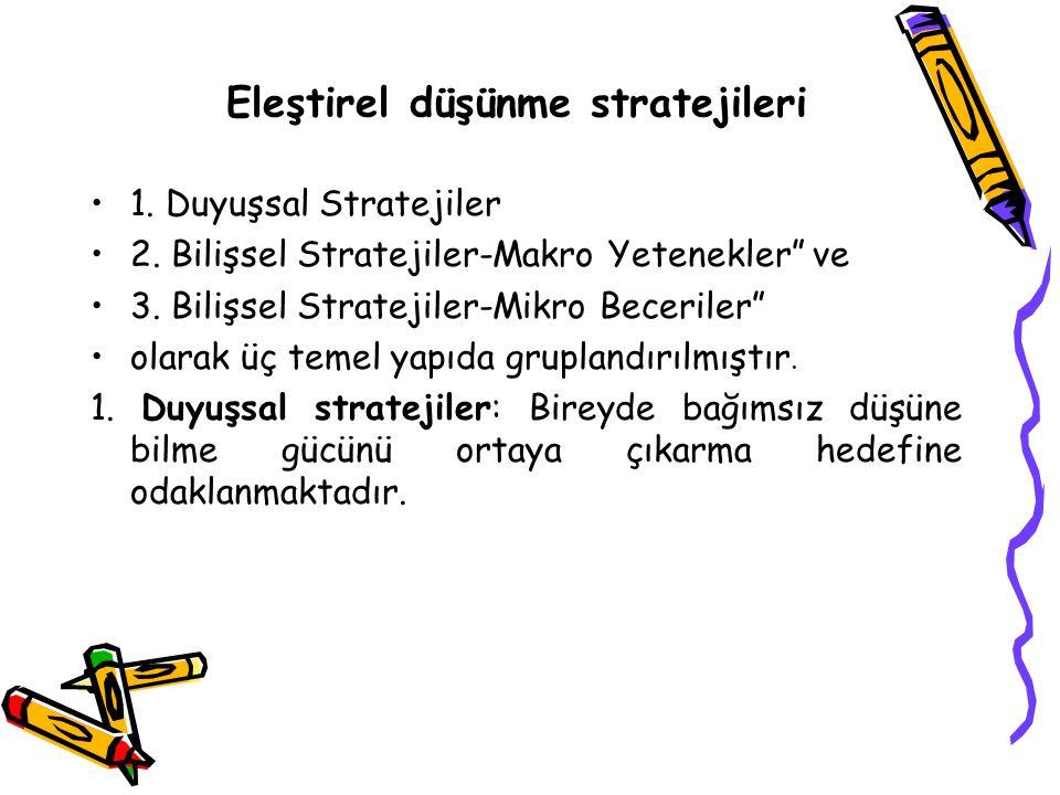 """Eleştirel düşünme stratejileri 1. Duyuşsal Stratejiler 2. Bilişsel Stratejiler-Makro Yetenekler"""" ve 3. Bilişsel Stratejiler-Mikro Beceriler"""" olarak üç"""