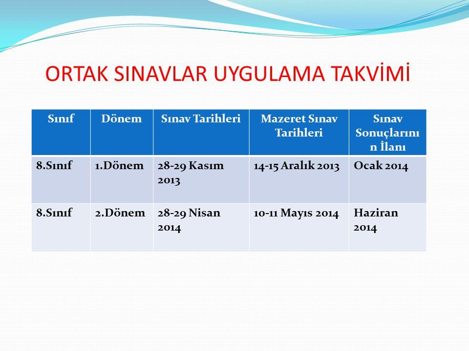 ORTAK SINAVLAR UYGULAMA TAKVİMİ SınıfDönemSınav TarihleriMazeret Sınav Tarihleri Sınav Sonuçlarını n İlanı 8.Sınıf1.Dönem28-29 Kasım 2013 14-15 Aralık