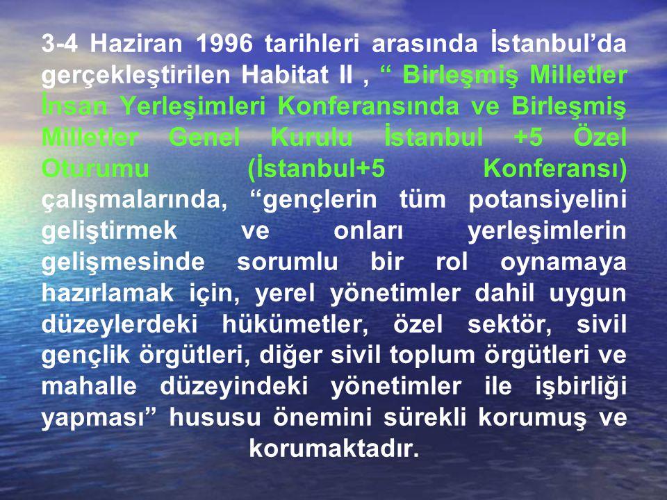 3-4 Haziran 1996 tarihleri arasında İstanbul'da gerçekleştirilen Habitat II, Birleşmiş Milletler İnsan Yerleşimleri Konferansında ve Birleşmiş Milletler Genel Kurulu İstanbul +5 Özel Oturumu (İstanbul+5 Konferansı) çalışmalarında, gençlerin tüm potansiyelini geliştirmek ve onları yerleşimlerin gelişmesinde sorumlu bir rol oynamaya hazırlamak için, yerel yönetimler dahil uygun düzeylerdeki hükümetler, özel sektör, sivil gençlik örgütleri, diğer sivil toplum örgütleri ve mahalle düzeyindeki yönetimler ile işbirliği yapması hususu önemini sürekli korumuş ve korumaktadır.