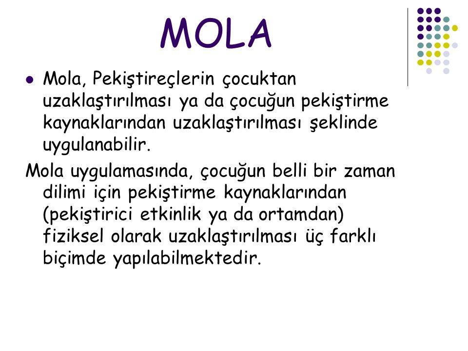 MOLA Mola, Pekiştireçlerin çocuktan uzaklaştırılması ya da çocuğun pekiştirme kaynaklarından uzaklaştırılması şeklinde uygulanabilir. Mola uygulamasın