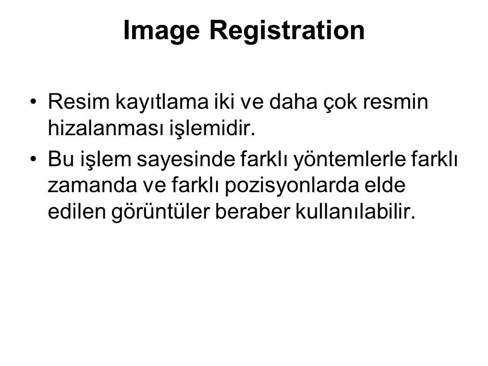 Image Registration Resim kayıtlama iki ve daha çok resmin hizalanması işlemidir. Bu işlem sayesinde farklı yöntemlerle farklı zamanda ve farklı pozisy