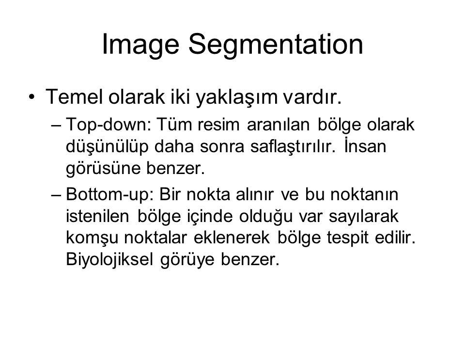 Image Segmentation Temel olarak iki yaklaşım vardır. –Top-down: Tüm resim aranılan bölge olarak düşünülüp daha sonra saflaştırılır. İnsan görüsüne ben