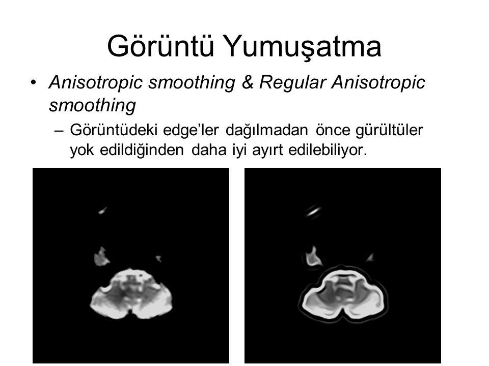 Görüntü Yumuşatma Anisotropic smoothing & Regular Anisotropic smoothing –Görüntüdeki edge'ler dağılmadan önce gürültüler yok edildiğinden daha iyi ayırt edilebiliyor.