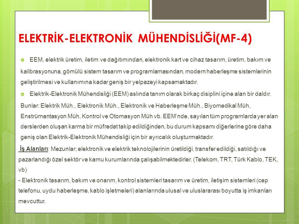 ELEKTRİK-ELEKTRONİK MÜHENDİSLİĞİ(MF-4)  EEM, elektrik üretim, iletim ve dağıtımından, elektronik kart ve cihaz tasarım, üretim, bakım ve kalibrasyonu
