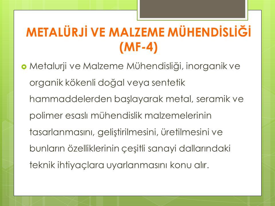 METALÜRJİ VE MALZEME MÜHENDİSLİĞİ (MF-4)  Metalurji ve Malzeme Mühendisliği, inorganik ve organik kökenli doğal veya sentetik hammaddelerden başlayar