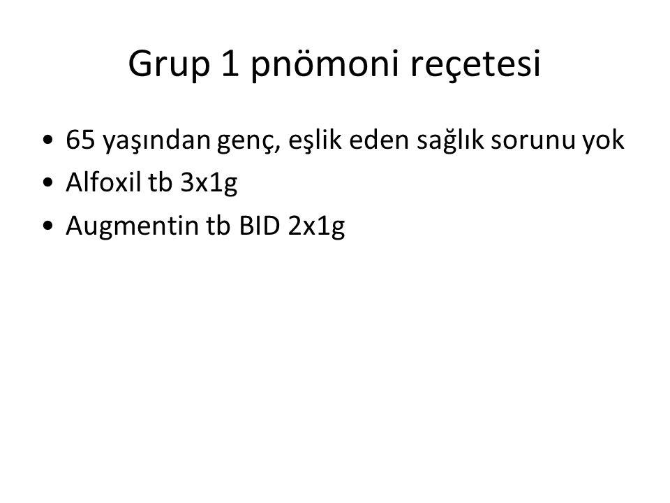 Grup 1 pnömoni reçetesi 65 yaşından genç, eşlik eden sağlık sorunu yok Alfoxil tb 3x1g Augmentin tb BID 2x1g