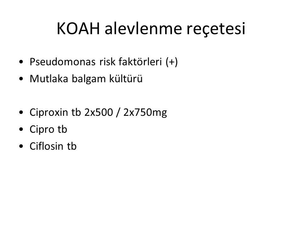 KOAH alevlenme reçetesi Pseudomonas risk faktörleri (+) Mutlaka balgam kültürü Ciproxin tb 2x500 / 2x750mg Cipro tb Ciflosin tb