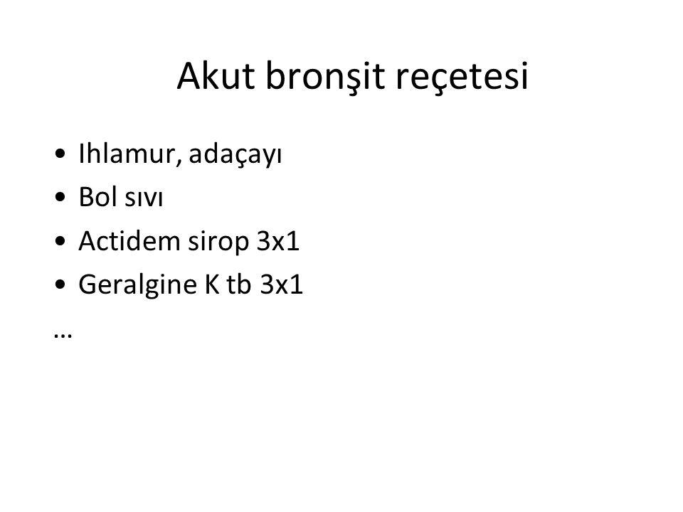 Akut bronşit reçetesi Ihlamur, adaçayı Bol sıvı Actidem sirop 3x1 Geralgine K tb 3x1 … Klacid tb 2x250 mg ya da 2 x 500 mg Macrol tb Claricide tb