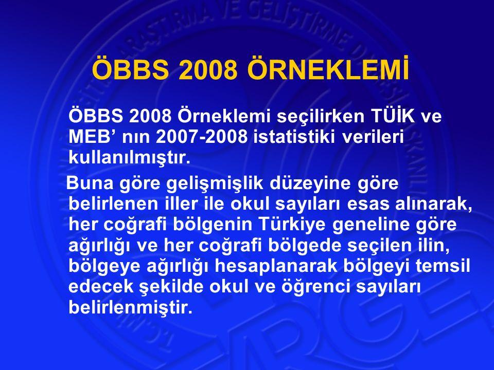 ÖBBS 2008 ÖRNEKLEMİ ÖBBS 2008 Örneklemi seçilirken TÜİK ve MEB' nın 2007-2008 istatistiki verileri kullanılmıştır. Buna göre gelişmişlik düzeyine göre