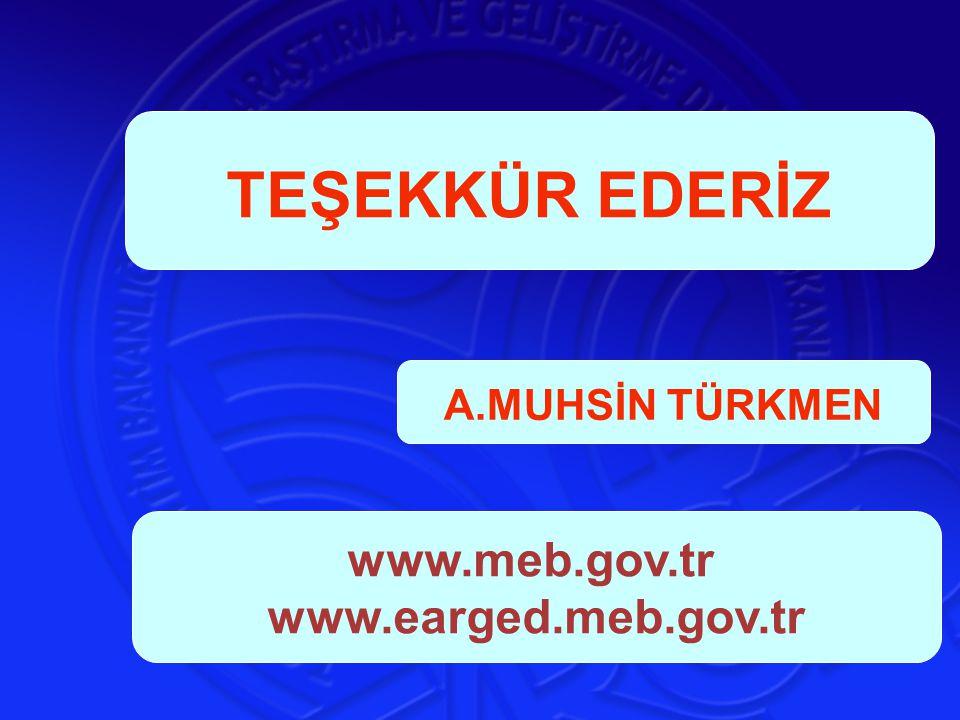 A.MUHSİN TÜRKMEN TEŞEKKÜR EDERİZ www.meb.gov.tr www.earged.meb.gov.tr