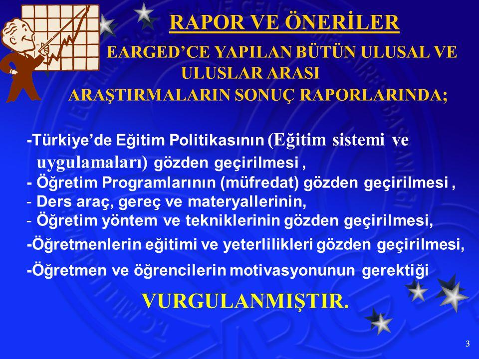 3 EARGED'CE YAPILAN BÜTÜN ULUSAL VE ULUSLAR ARASI ARAŞTIRMALARIN SONUÇ RAPORLARINDA ; -Türkiye'de Eğitim Politikasının (Eğitim sistemi ve uygulamaları) g özden geçirilmesi, -Öğretim Programlarının (müfredat) gözden geçirilmesi, -D-Ders araç, gereç ve materyallerinin, -Ö-Öğretim yöntem ve tekniklerinin gözden geçirilmesi, -Öğretmenlerin eğitimi ve yeterlilikleri gözden geçirilmesi, -Öğretmen ve öğrencilerin motivasyonunun gerektiği VURGULANMIŞTIR.