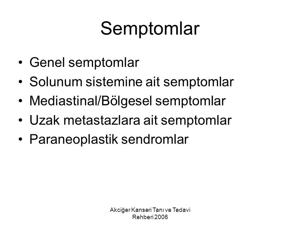 Semptomlar Genel semptomlar Solunum sistemine ait semptomlar Mediastinal/Bölgesel semptomlar Uzak metastazlara ait semptomlar Paraneoplastik sendromla