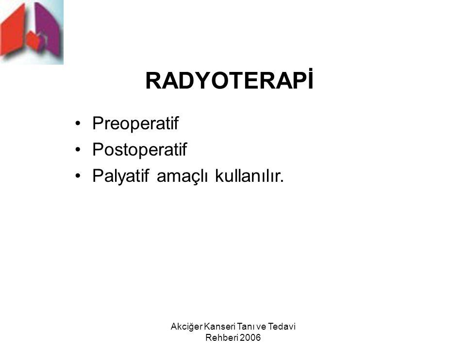 Akciğer Kanseri Tanı ve Tedavi Rehberi 2006 RADYOTERAPİ Preoperatif Postoperatif Palyatif amaçlı kullanılır.
