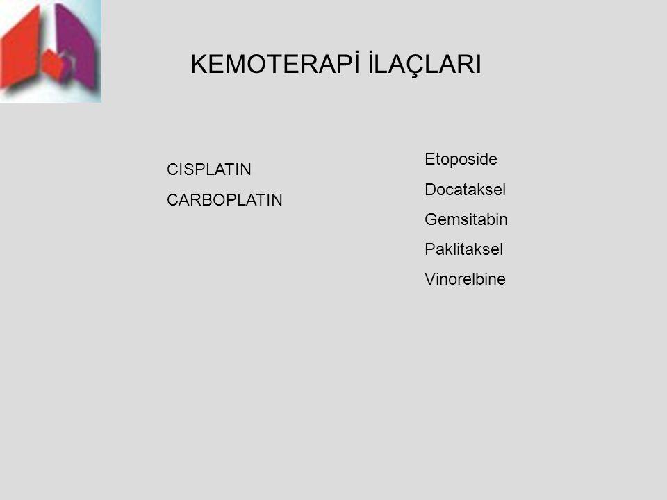 Akciğer Kanseri Tanı ve Tedavi Rehberi 2006 KEMOTERAPİ İLAÇLARI CISPLATIN CARBOPLATIN Etoposide Docataksel Gemsitabin Paklitaksel Vinorelbine