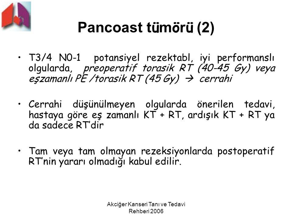 Akciğer Kanseri Tanı ve Tedavi Rehberi 2006 Pancoast t ü m ö r ü (2) T3/4 N0-1 potansiyel rezektabl, iyi performanslı olgularda, preoperatif torasik R