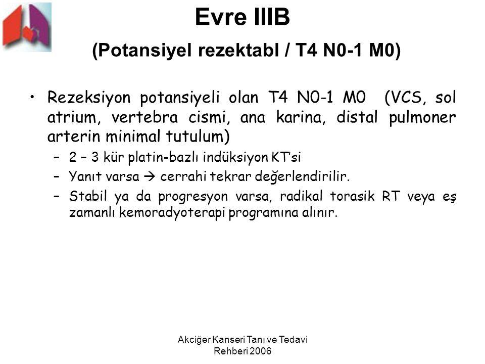 Akciğer Kanseri Tanı ve Tedavi Rehberi 2006 Evre IIIB (Potansiyel rezektabl / T4 N0-1 M0) Rezeksiyon potansiyeli olan T4 N0-1 M0 (VCS, sol atrium, ver