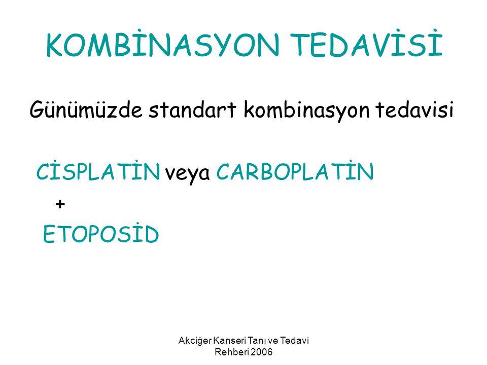 Akciğer Kanseri Tanı ve Tedavi Rehberi 2006 KOMBİNASYON TEDAVİSİ Günümüzde standart kombinasyon tedavisi CİSPLATİN veya CARBOPLATİN + ETOPOSİD