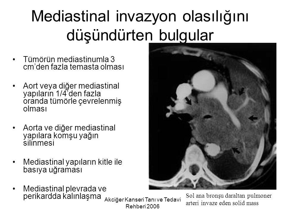 Akciğer Kanseri Tanı ve Tedavi Rehberi 2006 Mediastinal invazyon olasılığını düşündürten bulgular Tümörün mediastinumla 3 cm'den fazla temasta olması