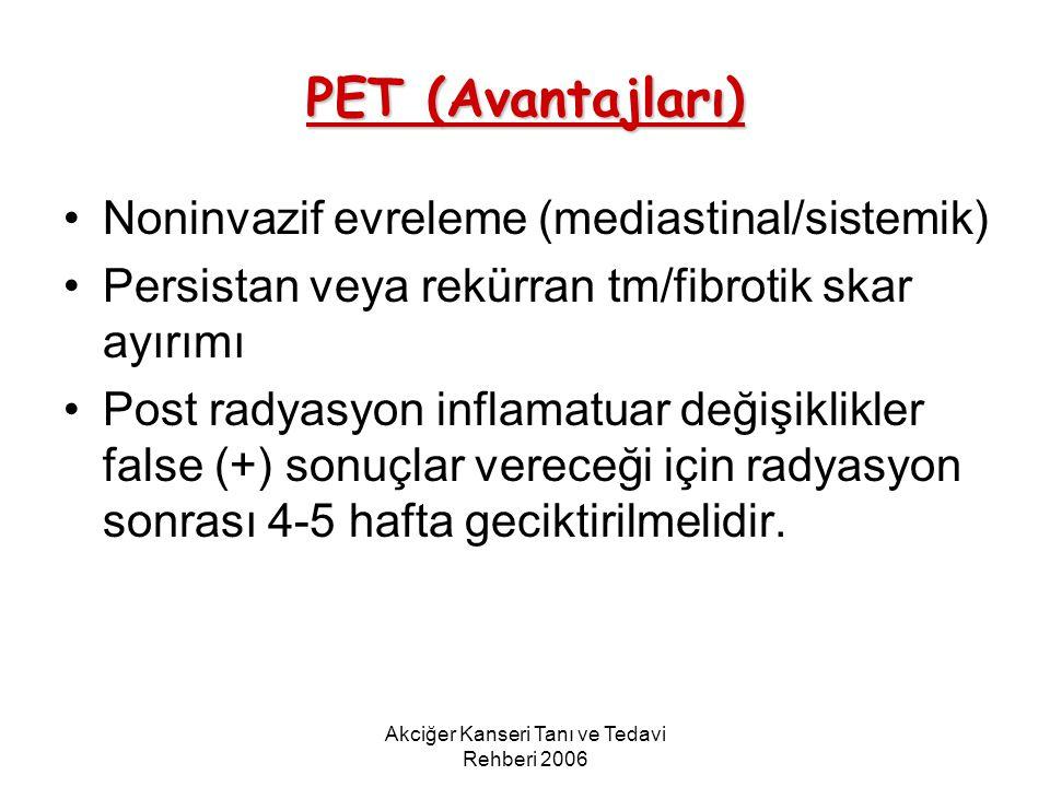 Akciğer Kanseri Tanı ve Tedavi Rehberi 2006 PET (Avantajları) Noninvazif evreleme (mediastinal/sistemik) Persistan veya rekürran tm/fibrotik skar ayır