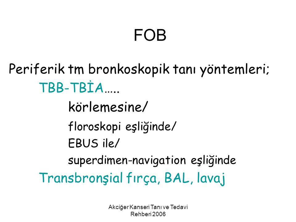 Akciğer Kanseri Tanı ve Tedavi Rehberi 2006 Periferik tm bronkoskopik tanı yöntemleri; TBB-TBİA….. körlemesine/ floroskopi eşliğinde/ EBUS ile/ superd