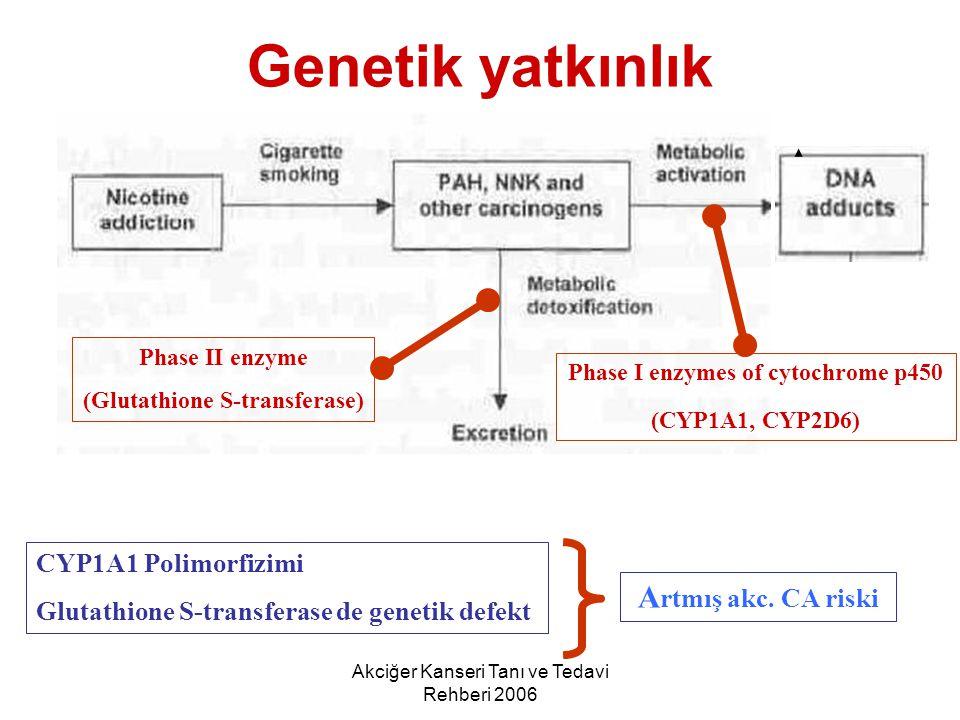 Akciğer Kanseri Tanı ve Tedavi Rehberi 2006 Genetik yatkınlık Phase II enzyme (Glutathione S-transferase) Phase I enzymes of cytochrome p450 (CYP1A1,