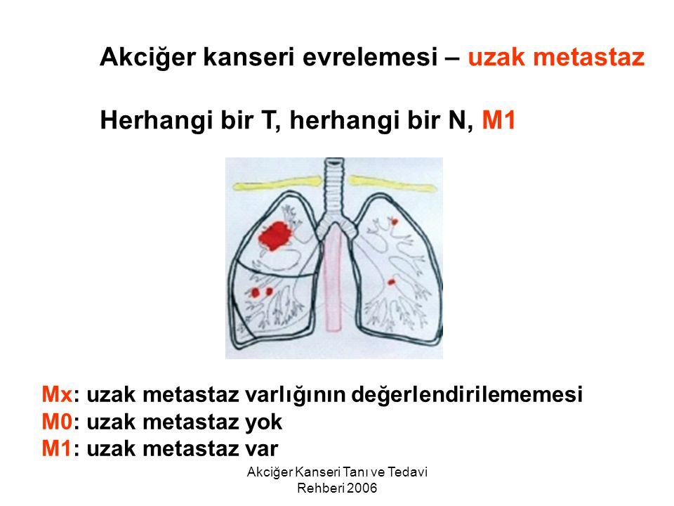 Akciğer Kanseri Tanı ve Tedavi Rehberi 2006 Akciğer kanseri evrelemesi – uzak metastaz Herhangi bir T, herhangi bir N, M1 Mx: uzak metastaz varlığının