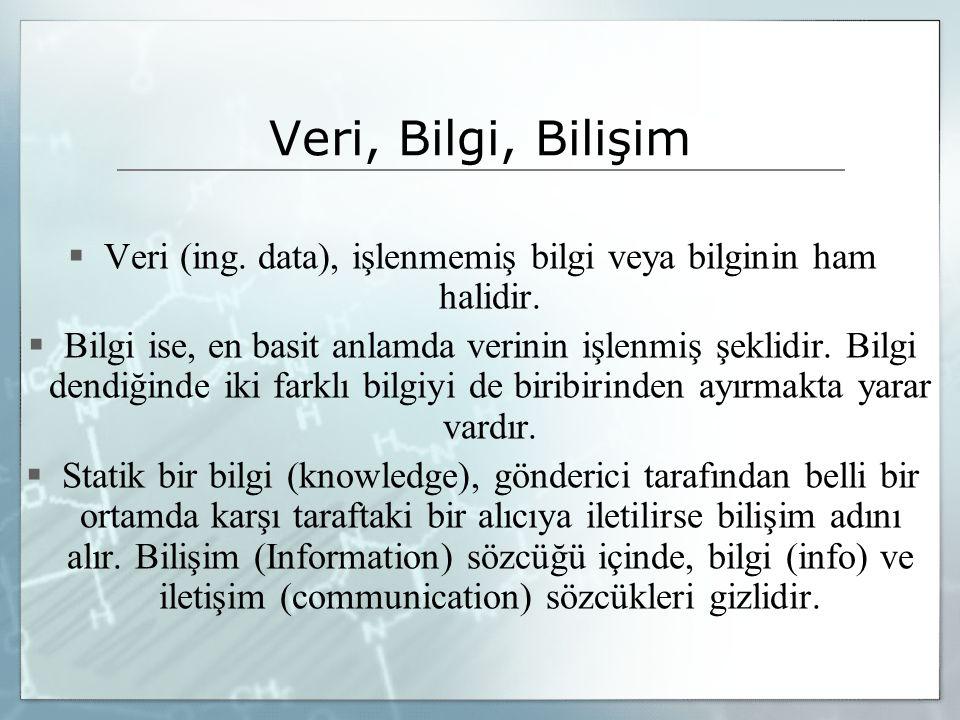 Veri, Bilgi, Bilişim  Veri (ing. data), işlenmemiş bilgi veya bilginin ham halidir.  Bilgi ise, en basit anlamda verinin işlenmiş şeklidir. Bilgi de