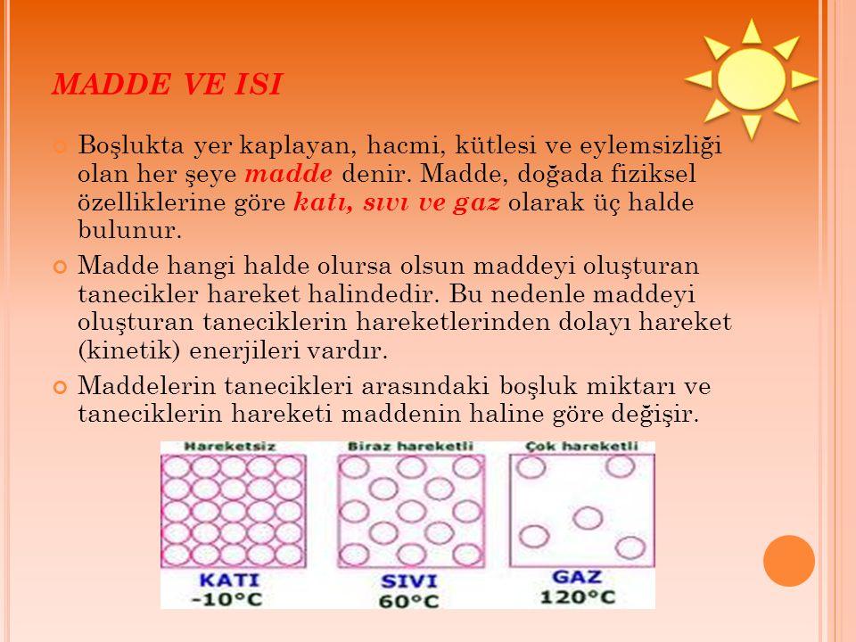 MADDE VE ISI Sıcaklığın özellikleri: Sıcaklıklar ölçülebilir büyüklüklerdir.