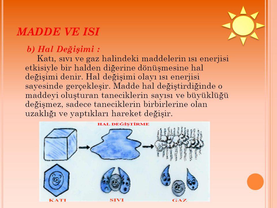 MADDE VE ISI b) Hal Değişimi : Katı, sıvı ve gaz halindeki maddelerin ısı enerjisi etkisiyle bir halden diğerine dönüşmesine hal değişimi denir. Hal d