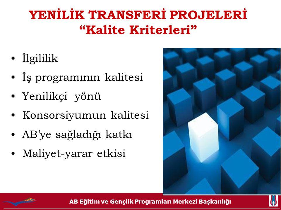 """AB Eğitim ve Gençlik Programları Merkezi Başkanlığı YENİLİK TRANSFERİ PROJELERİ """"Kalite Kriterleri"""" İlgililik İş programının kalitesi Yenilikçi yönü K"""