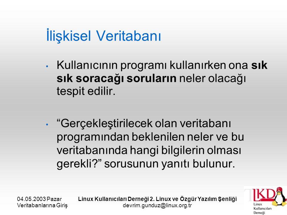 04.05.2003 Pazar Veritabanlarına Giriş Linux Kullanıcıları Derneği 2. Linux ve Özgür Yazılım Şenliği devrim.gunduz@linux.org.tr İlişkisel Veritabanı K