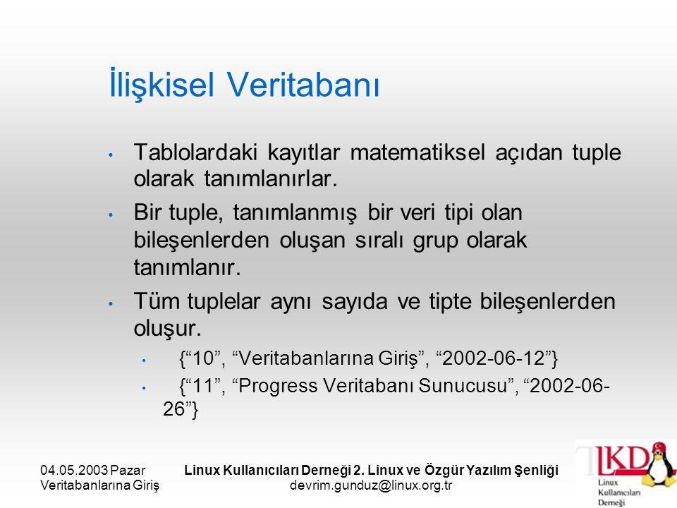 04.05.2003 Pazar Veritabanlarına Giriş Linux Kullanıcıları Derneği 2. Linux ve Özgür Yazılım Şenliği devrim.gunduz@linux.org.tr İlişkisel Veritabanı T
