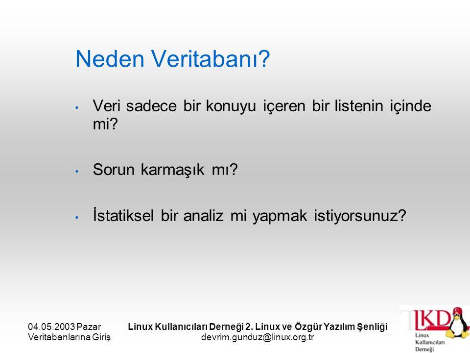 04.05.2003 Pazar Veritabanlarına Giriş Linux Kullanıcıları Derneği 2. Linux ve Özgür Yazılım Şenliği devrim.gunduz@linux.org.tr Neden Veritabanı? Veri