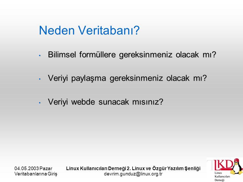 04.05.2003 Pazar Veritabanlarına Giriş Linux Kullanıcıları Derneği 2. Linux ve Özgür Yazılım Şenliği devrim.gunduz@linux.org.tr Neden Veritabanı? Bili