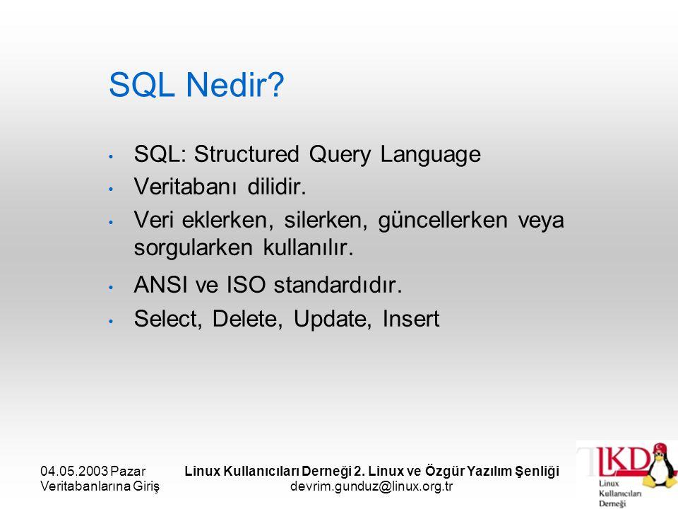 04.05.2003 Pazar Veritabanlarına Giriş Linux Kullanıcıları Derneği 2. Linux ve Özgür Yazılım Şenliği devrim.gunduz@linux.org.tr SQL Nedir? SQL: Struct