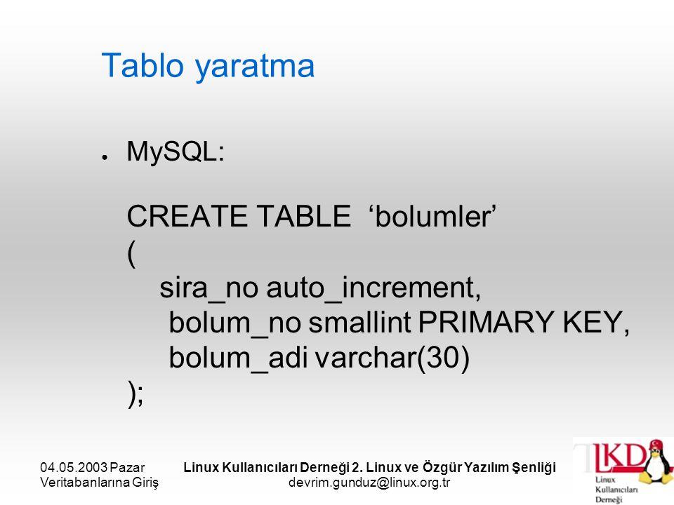 04.05.2003 Pazar Veritabanlarına Giriş Linux Kullanıcıları Derneği 2. Linux ve Özgür Yazılım Şenliği devrim.gunduz@linux.org.tr Tablo yaratma ● MySQL: